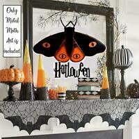 Pier One Primitive Gothic Halloween Metal Sign Vtg Horror Haunted House FolkArt
