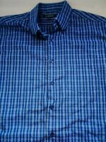 Mens George Short Sleeve Check Blue Loose Fit Shirt Size M