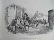c39-4 Lithographie de l'album récréatif 19e - le soldat blessé et la vivandière