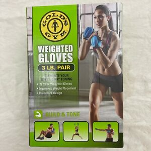 Gold's Gym 1.5 Weighted Gloves with Box Adult Blue 3lb Pair Thumbblock Design