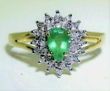 1.50Ct Pear Cut Green Emerald Cocktail Anniversary Ring 14K Yellow Gold Finish