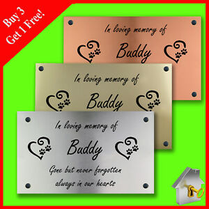 Personalised Engraved Copper/Silver/Gold Effect Pet Dog Memorial Plaque 11cmx6cm