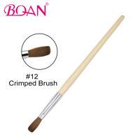 1PC Acrylic Nail Art Crimped Brush Kolinsky Hair Nail Art Manicure Tool #10/#12