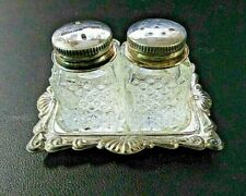 Vintage Mini Cut Glass Salt & Pepper Shakers w/Silver Plated Caps & Tray