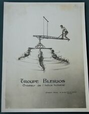 Troupe Blerios - Trapeze Circus Aerial Acrobats - antique French promo photo