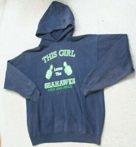 Hanes Seahawks Blue Woman's Hooded Sweatshirt Hoodie Women's Size XL X-Large Top