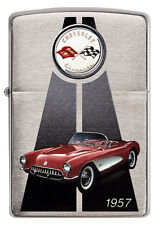 Zippo Chevrolet Corvette 1957 C1 brushed Chrome Custom Lighter Very Rare NEW