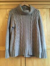 Jigsaw Chunky Cable Arran Knit Roll Neck brown jumper Alpaca Wool Blend L 14 16