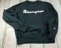 Vintage Champion 90s Embroidered Script Black Reverse Weave Sweatshirt Large