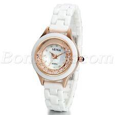 Women's Charm Quicksand Artificial Shells Dial Ceramic Band Quartz Wrist Watch