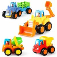4 Construction Cars Push Go Tractor Bulldozer Cement Mixer Truck Dumper Durable