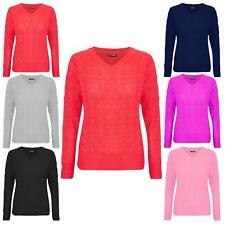 D&H Womens Ladies Oversized Knit Pullover V Neck Long Sleeve Stretchy Jumper