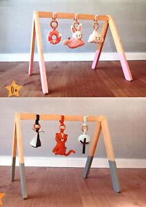 Babyspielgerät Holzspielzeug Baby Gym Spielbogen Katze Hase Tasten Greifen