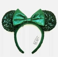 NEW Disney Parks Emerald Minnie Green Ears Headband Sequin Padded Bow 2020 NWT