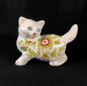 Italian White Majolica Terra-Cotta Cat Figure Mid Century Italy Kitten Flowers