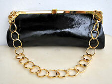 Gianni Versace Black Patent Leather Clutch Evening Bag Purse w/ Chain Italy Rare