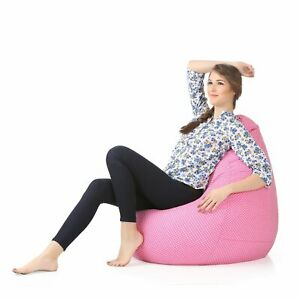Canvas Cotton Pink Bean Bag Cover Classic Polka Printed without beans XXL Size