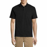 St Johns Bay Mens Quick Dry Short Sleeve Black Polo Shirt Size XL