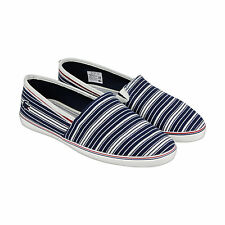Lacoste Aimard 6 Mens Blue Red Canvas Slip On Sneakers Shoes 9.5
