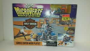 Kenner Microverse Harley Davidson Service Center Road King Set 1996