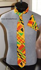Kente Necktie and  handkerchief set - Style #2 (Yellow)