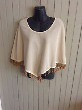 groovy Vintage Danielle Casey poncho wrap with beaded hem