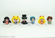 "Set 6 pcs Sailor Moon Chibi Moon Pluto Mercury Mars Jupiter Mini Figures 1.8"""