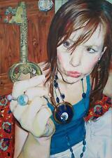 RUTH MURRAY CONTEMPORARY BRITISH ARTIST, FEMALE PORTRAIT OIL PAINTING ON CANVAS.