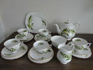 VINTAGE MELBA ENGLISH BONE CHINA TEA SET LILY OF THE VALLEY STUNNING