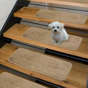 """Sweethome Stores Non-Slip Shag Carpet Stair Treads, (9""""X26"""")-14 Pack- Camel Soli"""