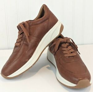 Patricia Nash Milano Sneakers Leather Shoes Lace Up Comfort Sole Whiskey Brown 9