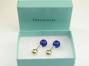 Tiffany & CO. 14K Gold and Lapis Lazuli Cufflinks FREE SHIPPING WORLDWIDE
