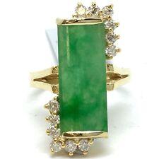 18K Yellow Gold Jade Diamond Ring. Lucky Stone.