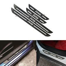 4Pcs JEEP Carbon Fiber Car Door Welcome Plate Sill Scuff Cover Panel Sticker