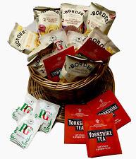 TEA & BISCUITS WICKER TEA CUP HAMPER - Yorkshire & PG Tips Tea - Border Biscuits