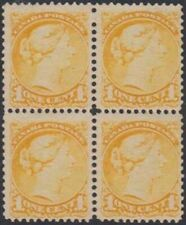 CANADA QV 1878-97 Issue 1c Bright Yellow Scott 35 SG75 Mint Block of 4 cv $190