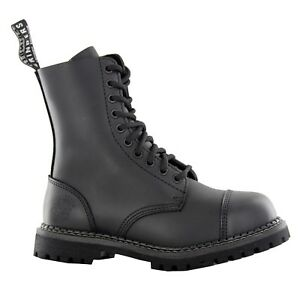 Grinders STAG cs Derby Combat Boots Black Leather Safety Steel Cap Punk Rock