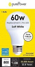 purePower A19 Dimmable LED Bulb 9W / 60W Equivalent / Soft White Energy Star...