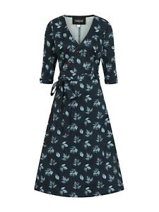 COLLECTIF // Size L // Susanna Fall Leaves Navy Buttoned Wrap Dress