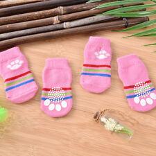 4x/Set Pet Puppy Dog Cotton Blend Anti Slip Knitted Warm Sock Dog Skid Sock UK