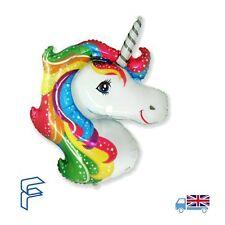 "42"" Rainbow Star Jumbo Unicorn Head Helium Balloon Flexmetal Magical Party"