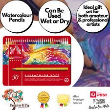 Caran d'Ache Supracolor Soft Aquarelle Coloured Pencils, 30 Pack, Water-Soluable