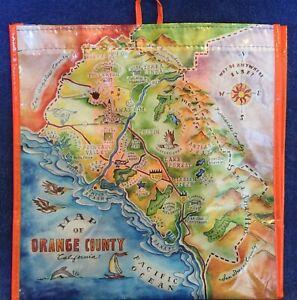 Map of Orange County California Reusable Plastic Bag - Orange Handles & Border -