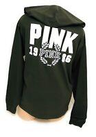 NWT Victorias Secret Pink Hooded Pocket Tee Tshirt Long Sleeve Graphic Medium
