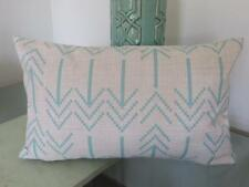 Rectangle Oblong Teal/Pale Turquoise Arrows Linen Look Cushion Cover 30x50