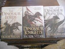 DINOSAUR LORDS Trilogy vols. 1-3, Victor Milán, all SIGNED 1st printings HCDJ