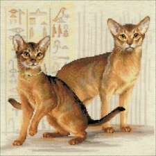 """Riolis Counted Cross Stitch Kit 15.75""""X15.75"""" Abyssinian Cats (10 499992483876"""