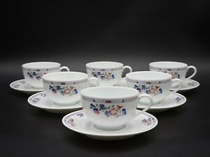 """6 PUIFORCAT RAYNAUD LIMOGES FRANCE """"CHEN YANG"""" FOOTED CUPS & SAUCERS  ~ MINT"""