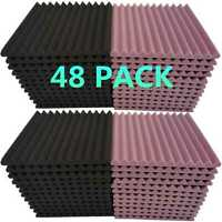 "48 Pack Acoustic Foam Panel 1"" X 12"" X 12"" Wedge Studio Soundproofing Wall Tiles"