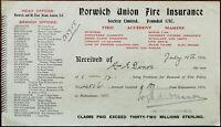 Norwich Union Fire Insurance Policy Renewal Receipt 4th July 1916